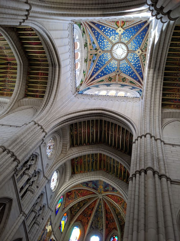 The colorful interior of Madrid's main cathedral.