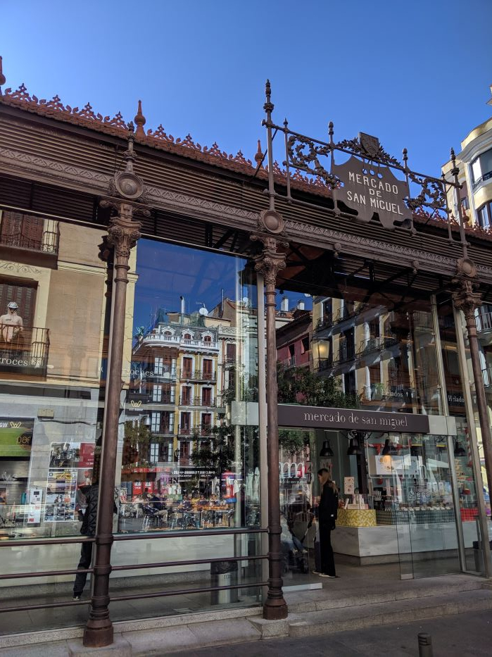 The exterior of the food market in Madrid.