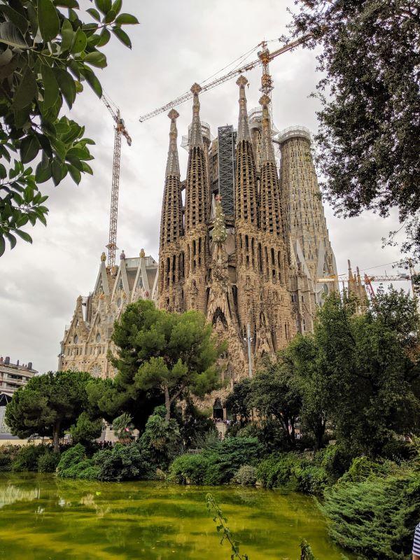 The exterior of La Sagrada Familia in Barcelona