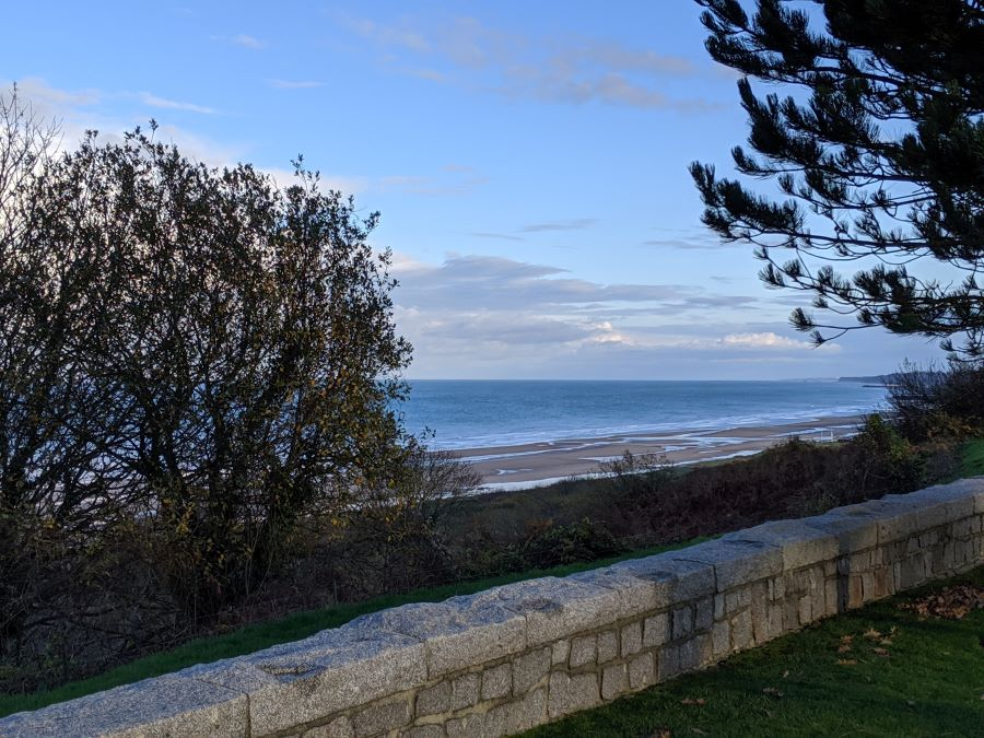 A glimpse of the ocean from the American Cemetery in Normandy.