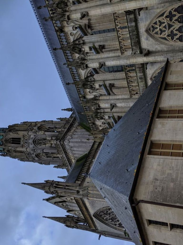 The gothic exterior of the Bayeux Cathedral.