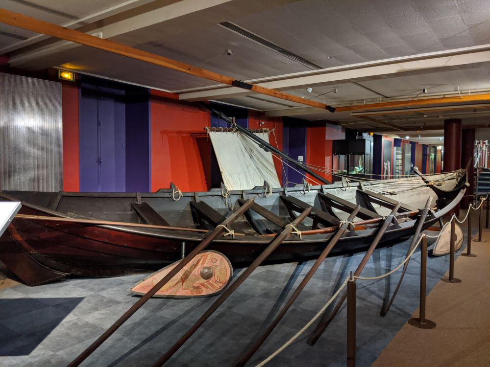 A replica of a Viking boat located in the Bayeux Tapestry Museum