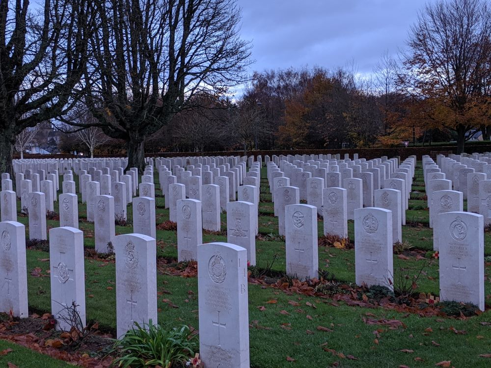Hundreds of headstones in rows at the Bayeux War Cemetery