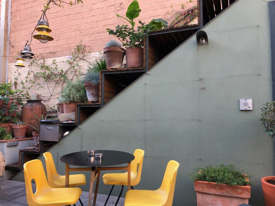 Yellow chairs at a restaurant in Barcelona with plants behind them.