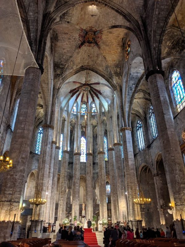 A wedding ceremony in a cathedral in barcelona