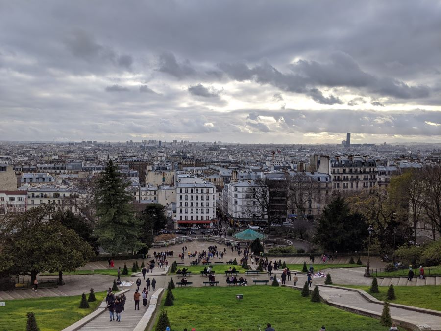 One of the best views in Paris is here from the Sacre-Coeur, which looks over the buildings of Paris.