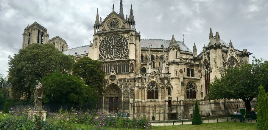 The gothic exterior of the Notre-Dame cathedral.