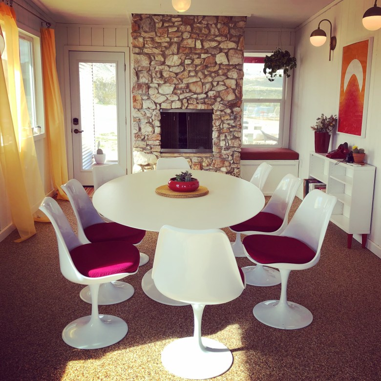 The dreamy boho disco dining room at our Yucca Valley Airbnb