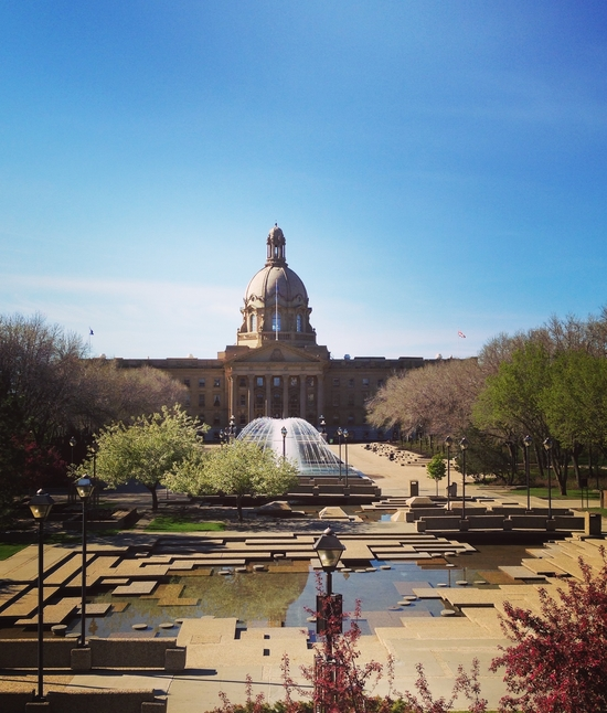 The Alberta Legislative Buildings and their awesome kid-friendly fountains. See Canada Day note below...