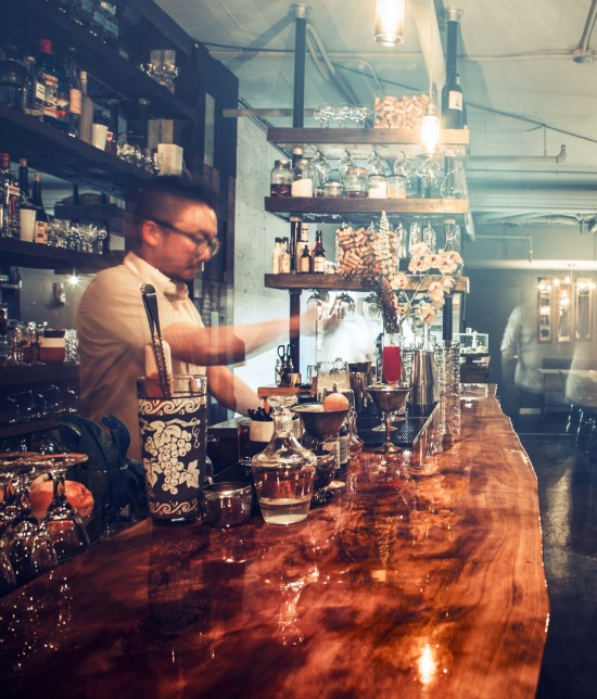 Satoshi Yonemori works his magic behind Grapes & Soda's bar. Photo Credit: Carlo Ricci
