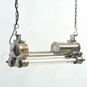 Industrial Explosion-Proof Fluorescent Light in Polished Cast Aluminium, Rewired anciellitude