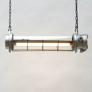 Industrial Fluorescent Light in Cast Aluminium with a Fence (ceiling light) anciellitude