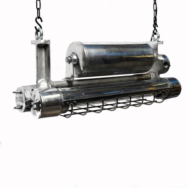 Double Fluo anti-déflagration grillagé en fonte d'aluminium petit format . anciellitude