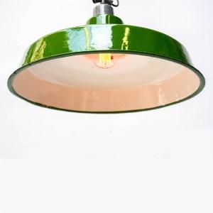 Green Enamelled Flat Ceiling Lamp anciellitude