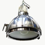 Old Spotlight Made of Cast Aluminium, Adapted in Ceiling Lamp anciellitude