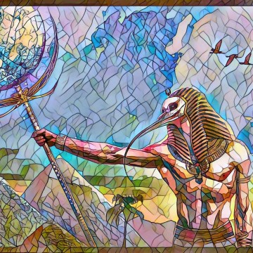 Egyptian god with moon sceptre in hand