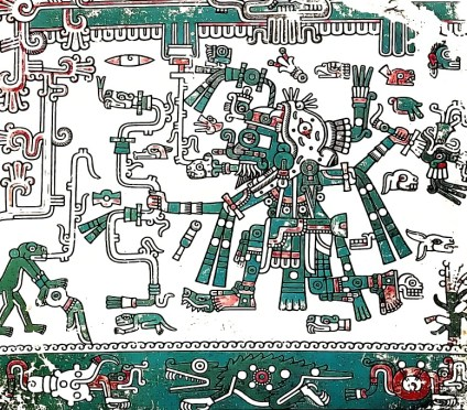 Tlaloc in Aztec style depiction in green and red.