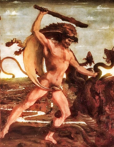 Hercules wearing Lions mane, slaying the mythical Hydra with a Tree Club.