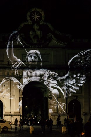 The angel of the lord standing with a drawn sword