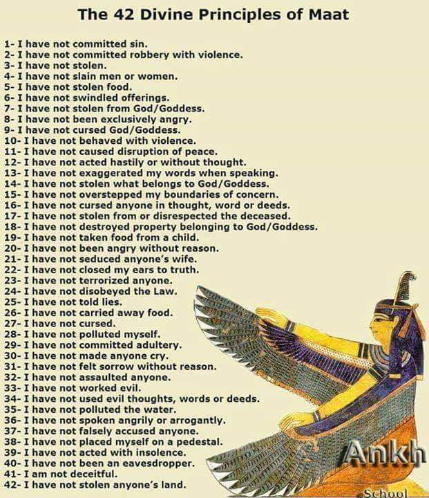 Picture of the 42 Divine Principles of Maat