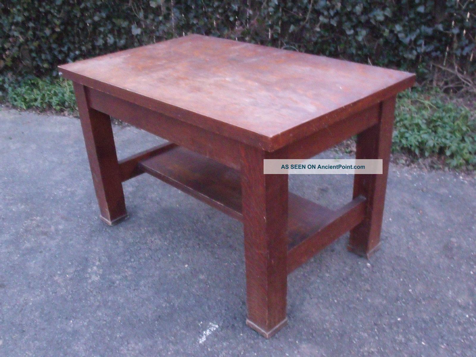 Antique Quartersawn Craftsman Mission Style Oak Writing Desk