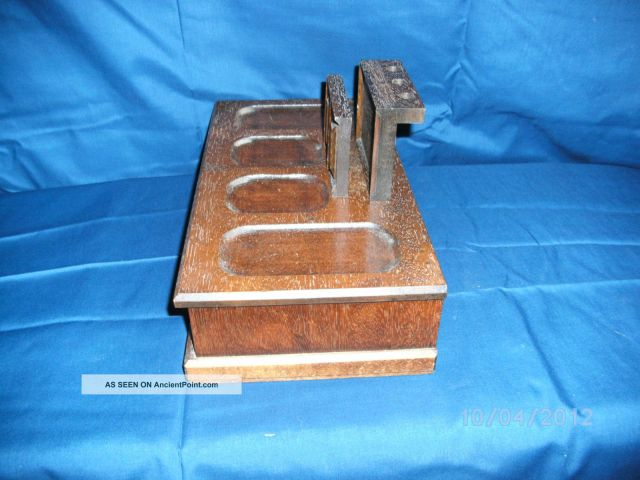 Vintage Dark Wood Letter /pencil/pen Jewelry Organizer Box W/ Drawer