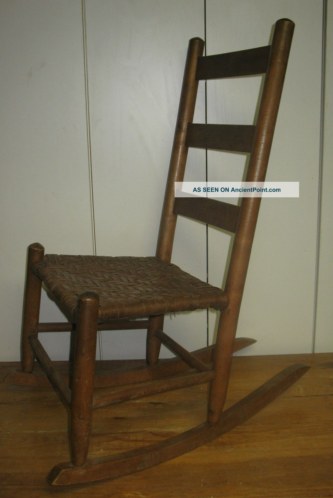 wicker ladder back chairs wood rocking chair antique with cane seats furniture