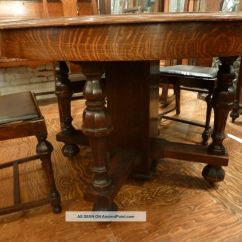 Antique Tiger Oak Dining Room Chairs Brown Office Guest Arts And Crafts Gothic Detail 5 Pc