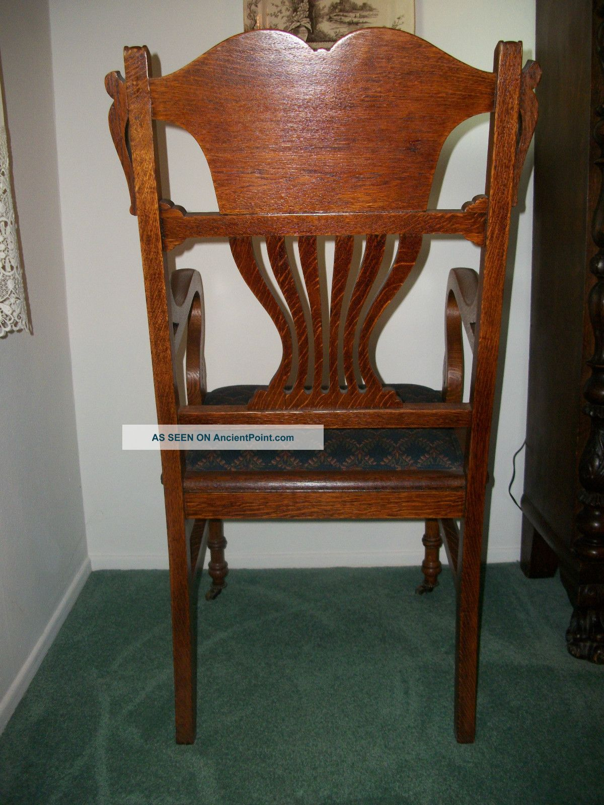 tiger oak dining chairs wheel chair battery antique room set large
