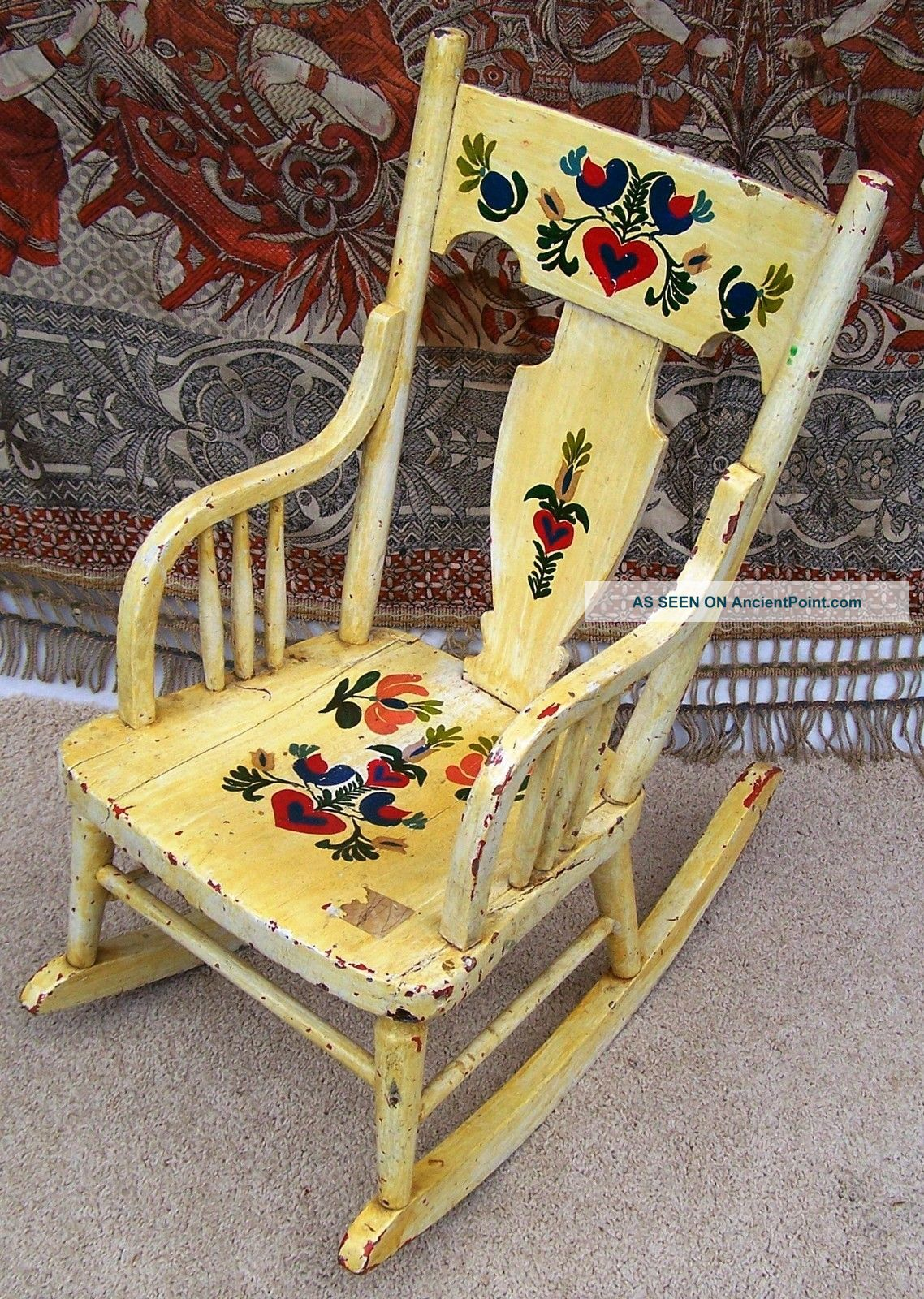 Vintage Childrens Rocking Chair Flowers Hand Painted