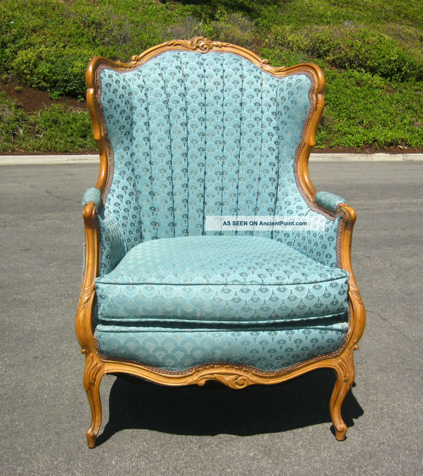 turquoise wingback chair glass table and chairs set french reproduction furniture provincial
