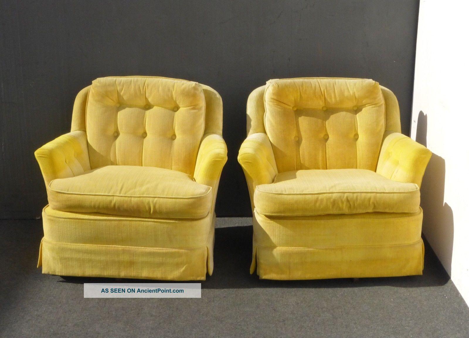 marge carson chairs hardwood chair mat diy pair vintage mid century yellow swivel arm hollywood regency