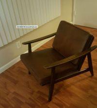 Mid Century Danish Modern Wood Leather Cushion Lounge Chair
