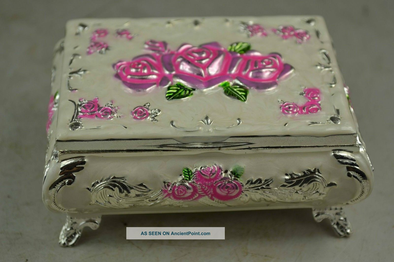 chinese rare old handwork cloisonne decoration noble rose court jewelry box