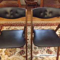 Coronet Folding Chairs Butterflies And Bows Chair Covers 2 Mid Century Modern Norquist Style 220 Black Wood