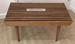 Mid Century Modern Walnut Slat Wood Bench Coffee Table Circa