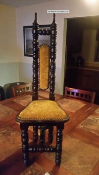 Antique Spanish Jacobean High Back Throne Chair Carved ...