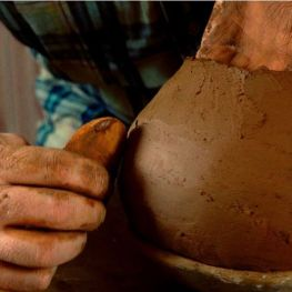 Coil pottery making