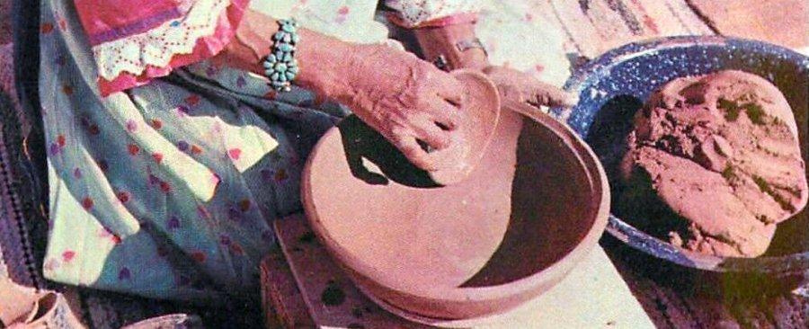Maria Martinez of San Ildefonso Pueblo forming a pot