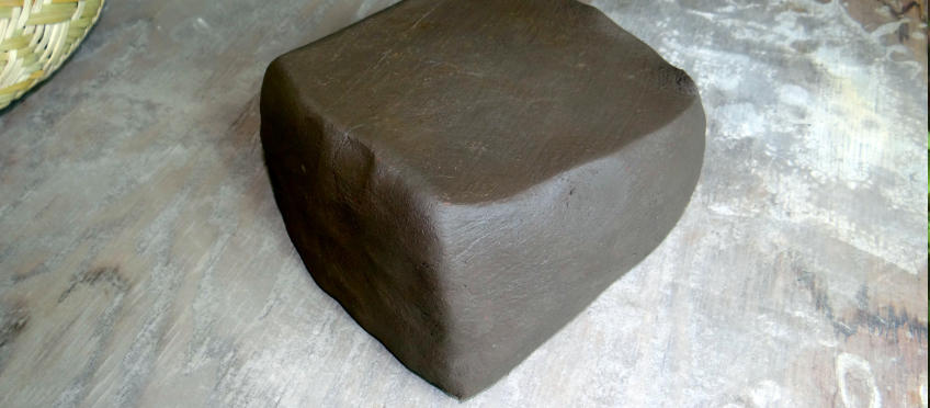 a freshly processed block of found clay