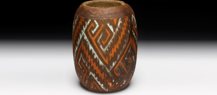 Painted stone jar from Chaco Canyon