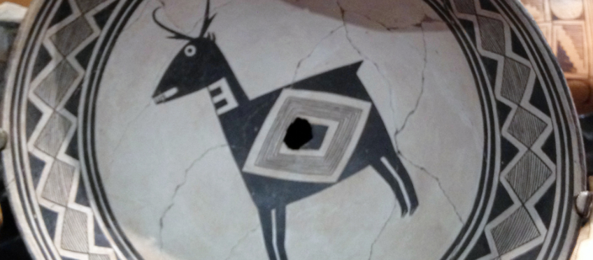 Mimbres pottery bowl depicting a Pronghorn.