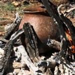 an open outdoor pottery firing