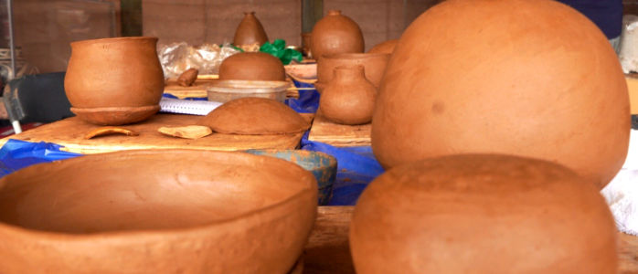 students pottery drying