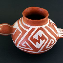 white on red duck effigy pot