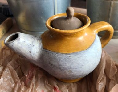coiled pottery teapot