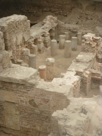 'old' columns re-used as hypocausts in Roman baths, near the gate of Hadrian, Athens