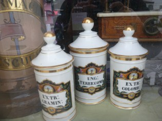 Medicine jars in the 'oldest' European chemist on Hydra