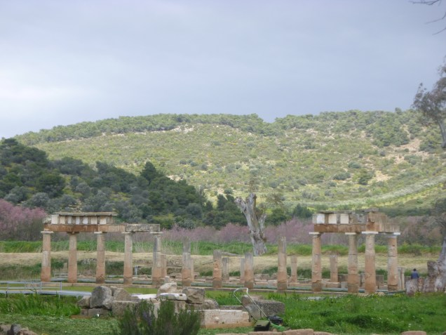 A view of the temple of Artemis at Brauron. Note the high hill