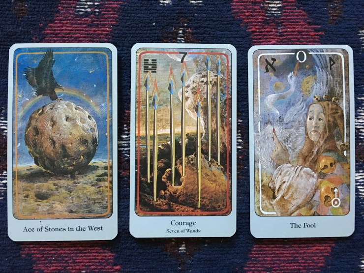 Ace of Stones, Seven of Wands, and The Fool
